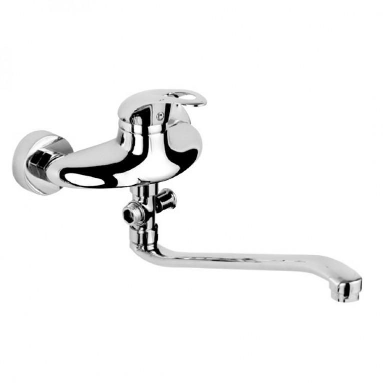 GRAZIA смеситель для ванны однорычажный, S-излив 350 мм, хром  40мм, фото 1