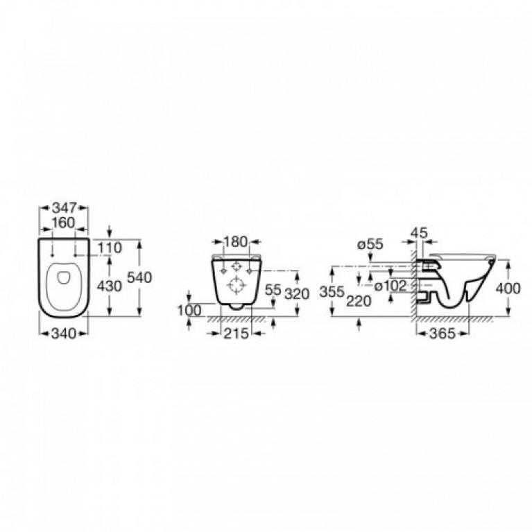 Комплект: GAP Rimless подвесной унитаз с сиденьем slow-closing A34H47C000+458.126.00.1, фото 3