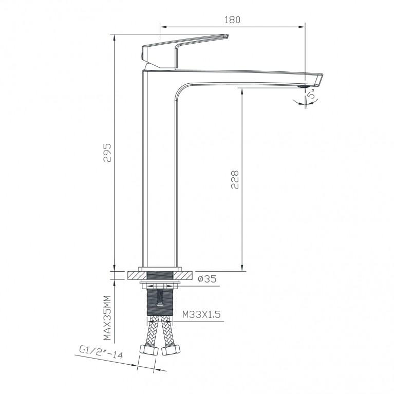 GRAFIKY смеситель для раковины высокий,  35 мм ZMK041807011, фото 2