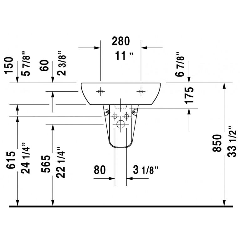 D-CODE умывальник 55*43см, с переливом, с 3мя отверстиями под смеситель, глазуровка снизу, включая крепление 23105500302, фото 3