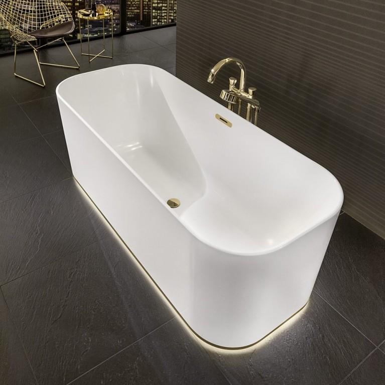 FINION ванна 170*70см, отдельностоящая, бесшовная, ф-ия Emotion, подсветка, оснащение золото, цвет ванны белый альпин, фото 4