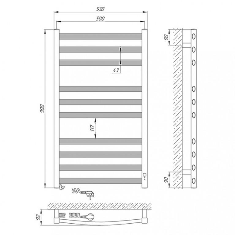 Полотенцесушитель Laris Гранд П10 500 х 900 Э (подкл. слева) 73207364, фото 6