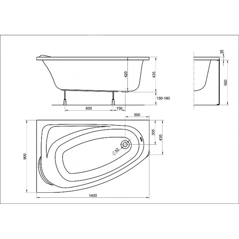 MYSTERY ванна асимметричная 140*90см левая в комплекте с ножками SN7 и элементами крепления XWA3741000, фото 2