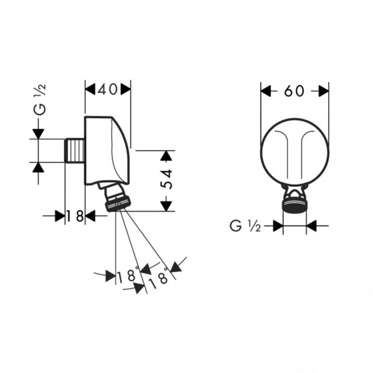 Fixfit Наружное шланговое подсоединение с поворотным крепежём для душа 27505000