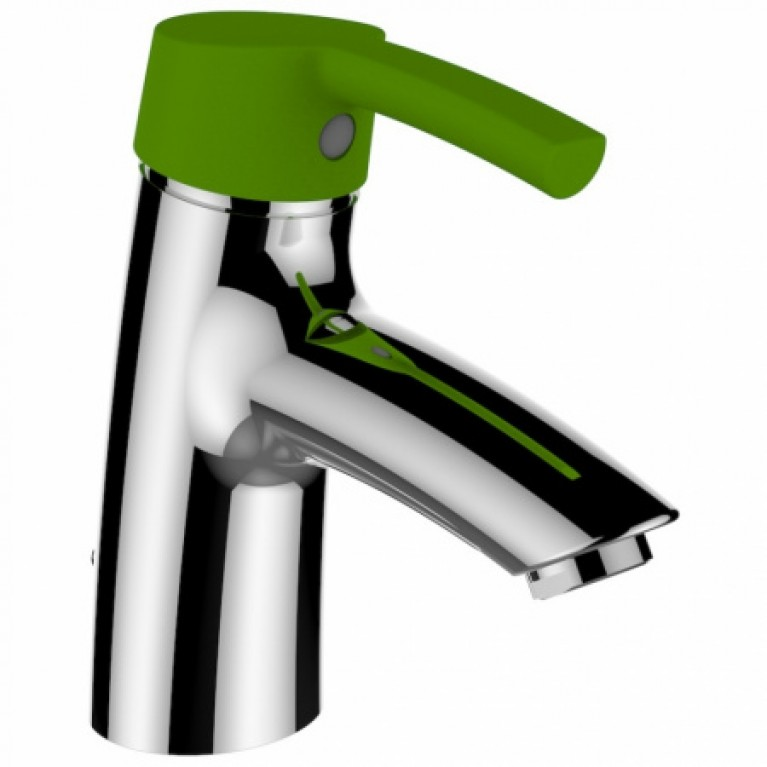 Купить CURVEPRO смеситель для раковины, однорычажный, картридж Ecototal, длина излива 110мм, с донным клапаном, рычаг зеленый (для коллекции florakids) у официального дилера LAUFEN в Украине