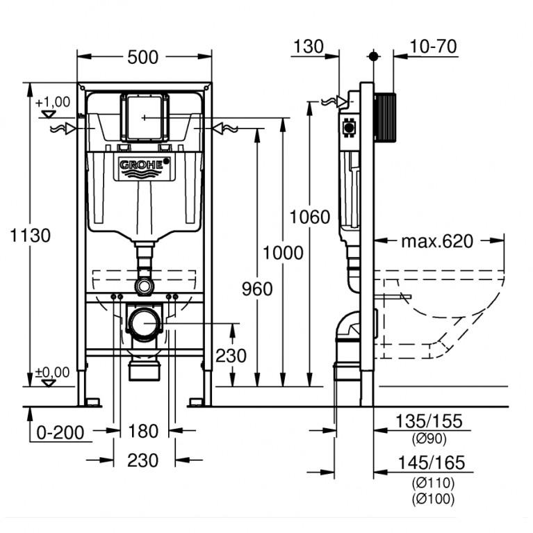 Комплект: О.NOVO DirectFlush унитаз подвесной 5660HR01 с сид. soft-close, Grohe инсталляция 38721001 5660HR01+38721001+37131000, фото 4