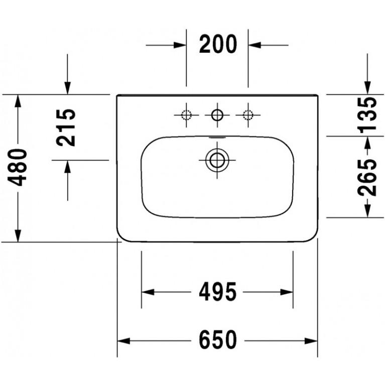 DURASTYLE умывальник 65*48см, для мебели, без перелива, с одним отв. под смеситель, с покрытием WonderGliss 23206500411, фото 3