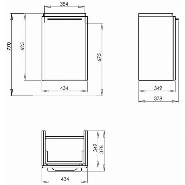 TRAFFIC шкафчик под умывальник 43,4*6,5*34,9 см,белый глянец (пол.) 89431000