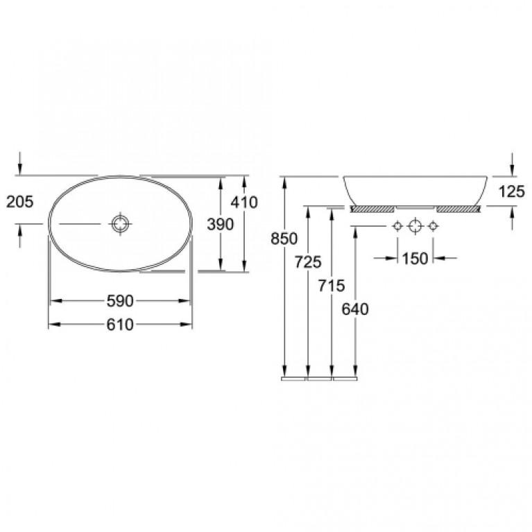 ARTIS умывальник 61*41см, для установки на столешницу, овальный, без перелива, белый альпин 41986101