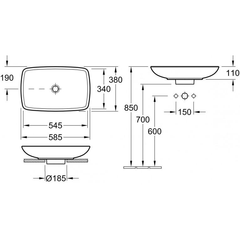 LOOP & FRIENDS умывальник для установки на столешницу 58,5*38см, белый альпин 51540001, фото 2