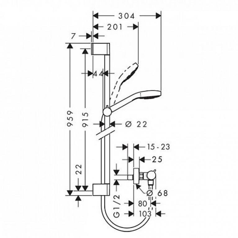 Croma Select E Vario Душевой набор 0,65м, с мыльницей Casetta, белый/хром 26586400, фото 2