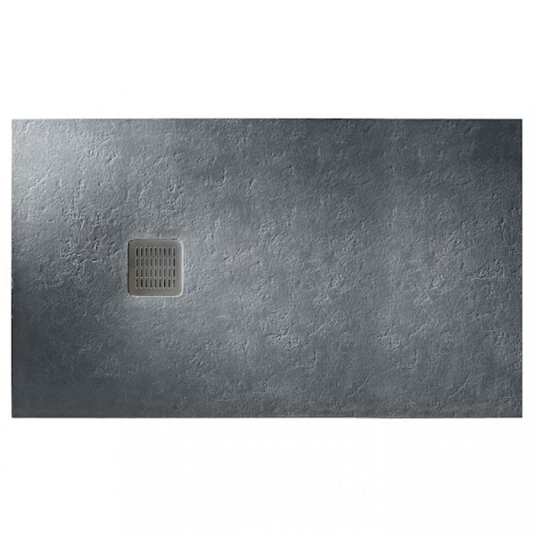TERRAN поддон 160*90*3,1см, из искусств. камня STONEX, прямоугольный, с трапом и сифоном в комплекте, цвет графит