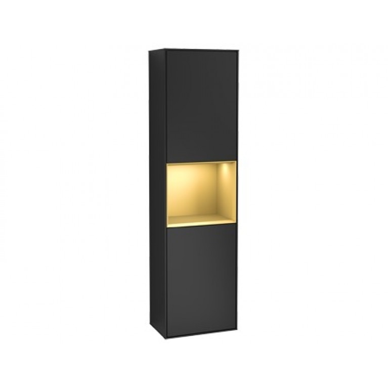FINION шкаф-пенал 41,8*151,6*27см подвесной, петли слева, с функцией Emotion, LED-пoдcвeтka, цвет - матовый черный, вставка - матовое золото, фото 1