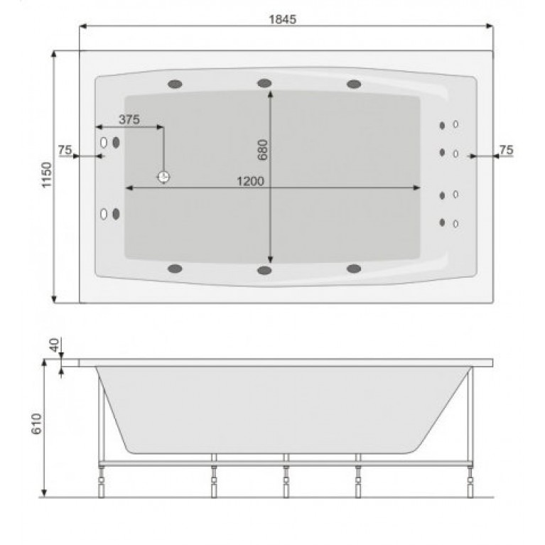 FANTASY ванна 185*115см, с системой гидромассажа Smart 2 PHP1H10ST2C0000, фото 2