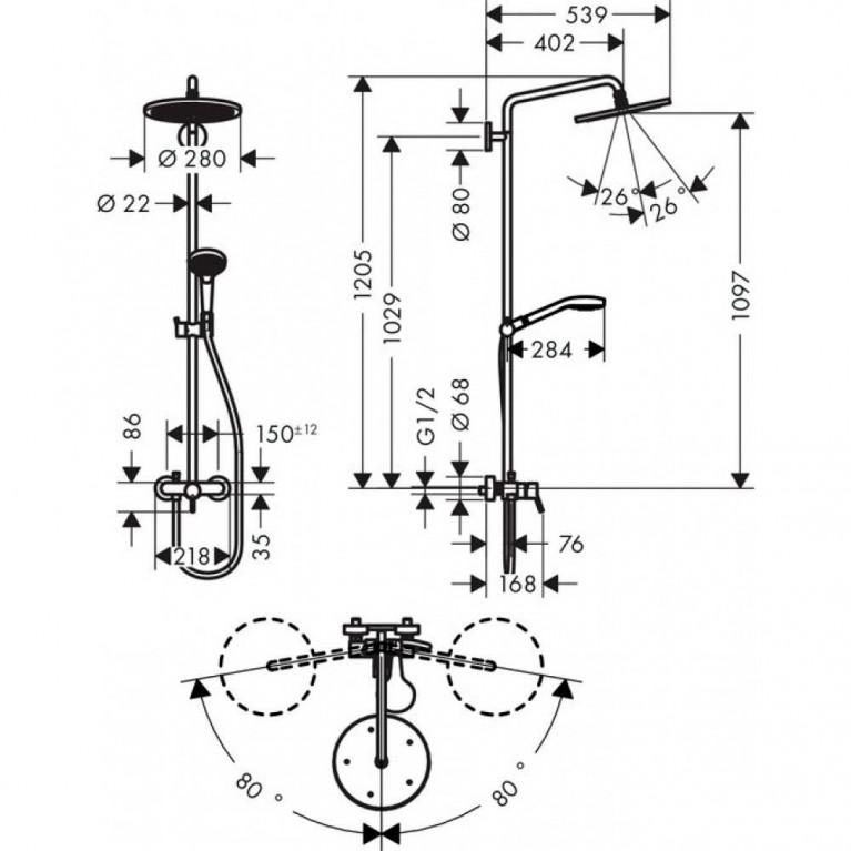 Croma Select Showerpipe Душевая система 280 Air 1jet, с однорычажным смесителем, хром 26791000, фото 2