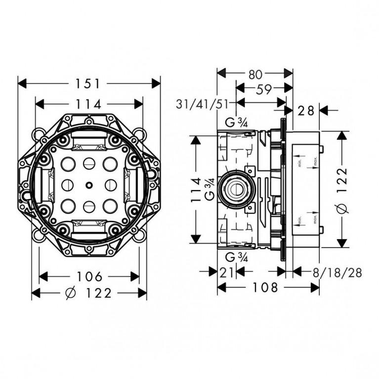 Ibox universal Скрытая часть для смесителя 01800180, фото 2