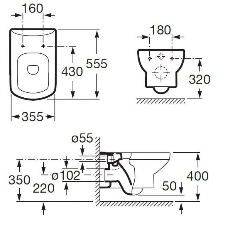 DAMA SENSO чаша подвесного унитаза A346517000