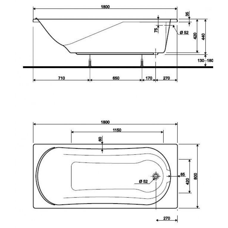 COMFORT ванна 180*80см  без панели ( гидром. система эконом) HE3080000, фото 2