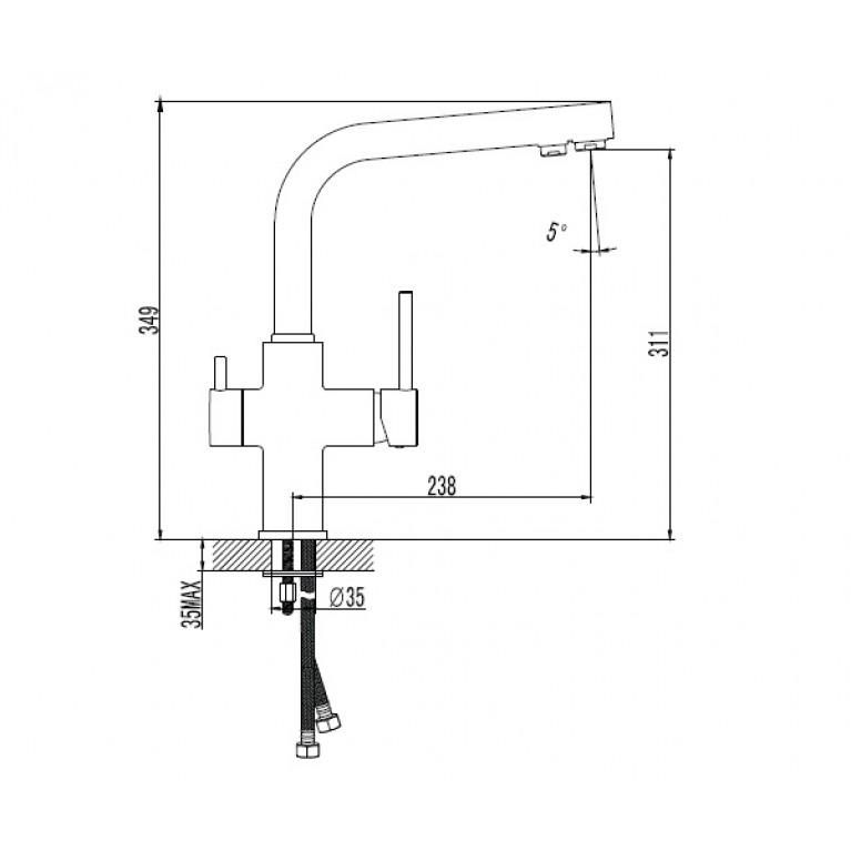DAICY смеситель для кухни однорычажный с подключением питьевой воды, (черный) 55009B-F, фото 2