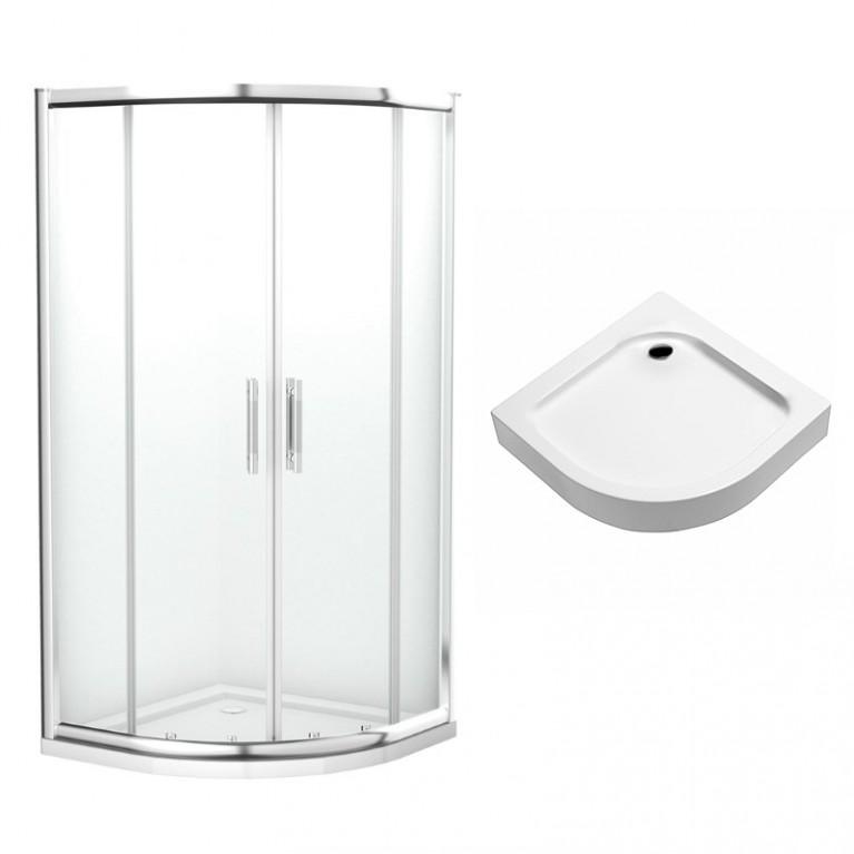 GEO 6 кабина полукруглая 90*90 см, прозрачное стекло + поддон Eger полукруглый  599-021/2 с сифоном, фото 1