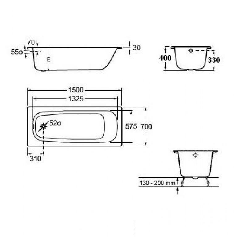 CONTESA ванна 150*70см, прямоугольная, с ножками A236060000+A291021000, фото 2