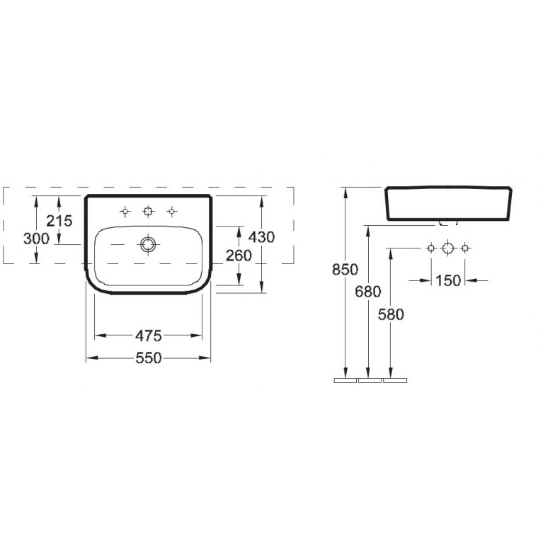 ARCHITECTURA умывальник 55*43см, полувстраиваемая, с центральным выбитым отв. под смеситель, без перелива 41905601, фото 2