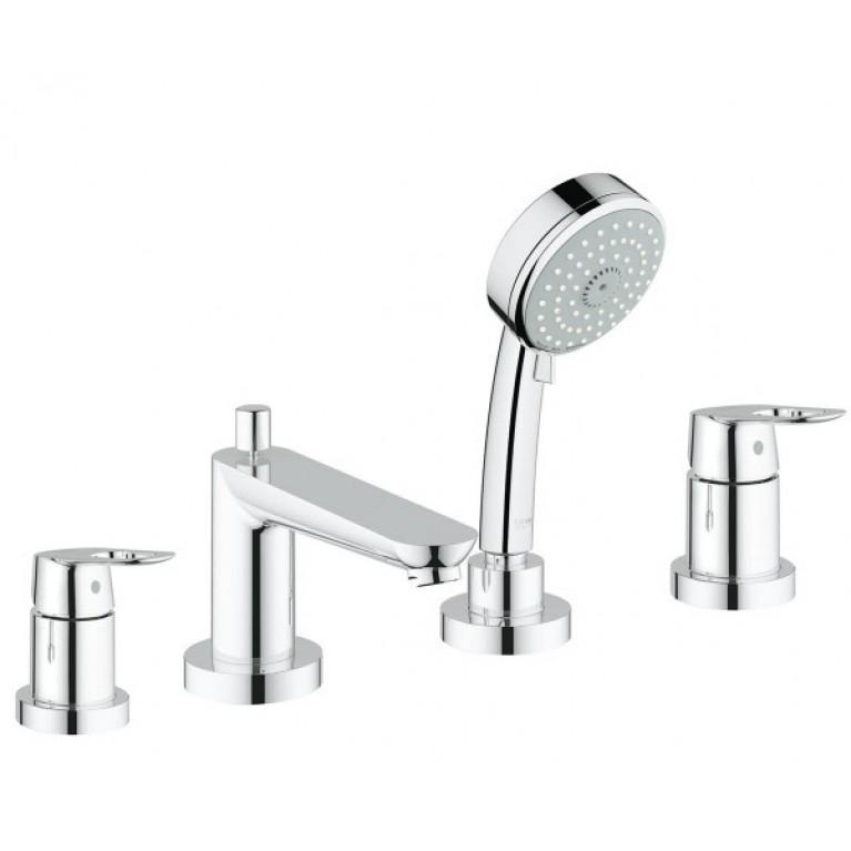 BauLoop Смеситель для ванны однорычажный на 4 отверстия с душ. набором, хром