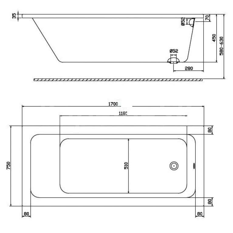 MODO прямоугольная ванна 170*75см, боковой слив, с ножками SN7 XWP1170000