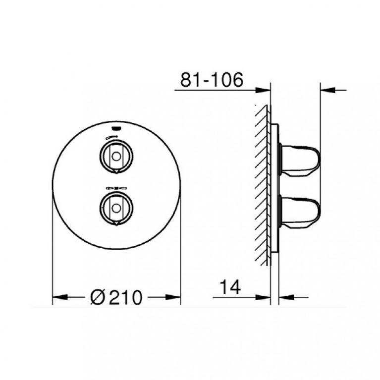 Grohtherm 1000 New Термостат для душа, внешняя часть, со встроенным преключателем на 2 положения 19985000, фото 2