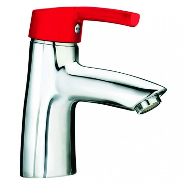 CURVEPRO Смеситель для раковины однорычажный, без донного клапана, красный рычаг, длина излива - 110мм, фото 1