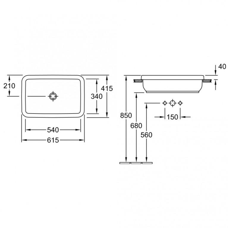 ARCHITECTURA умывальник для установки на столешницу 61,5*41,5см, прямоугольный 41676001