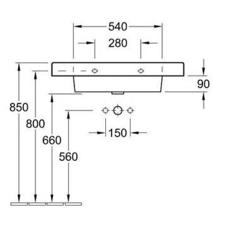 ARCHITECTURA умывальник 80*48,5см на тумбу, для 3- поз.смесителя, центр.отверстие выбито, перелив, цвет белый альпин С+ 611680R1, фото 2