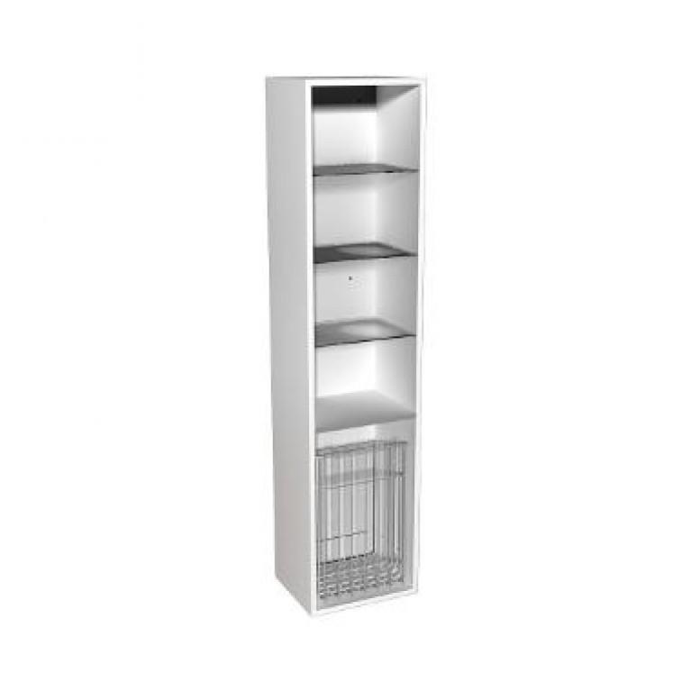 DOMINO корпус к шкафчику боковому,высокому,правому или левому с корзиной для белья 37*160*34 см белый глянец (пол.), фото 1