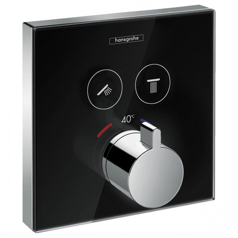 ShowerSelect Термостат  для двух потребителей, стеклянный, СМ черный/хром, фото 1