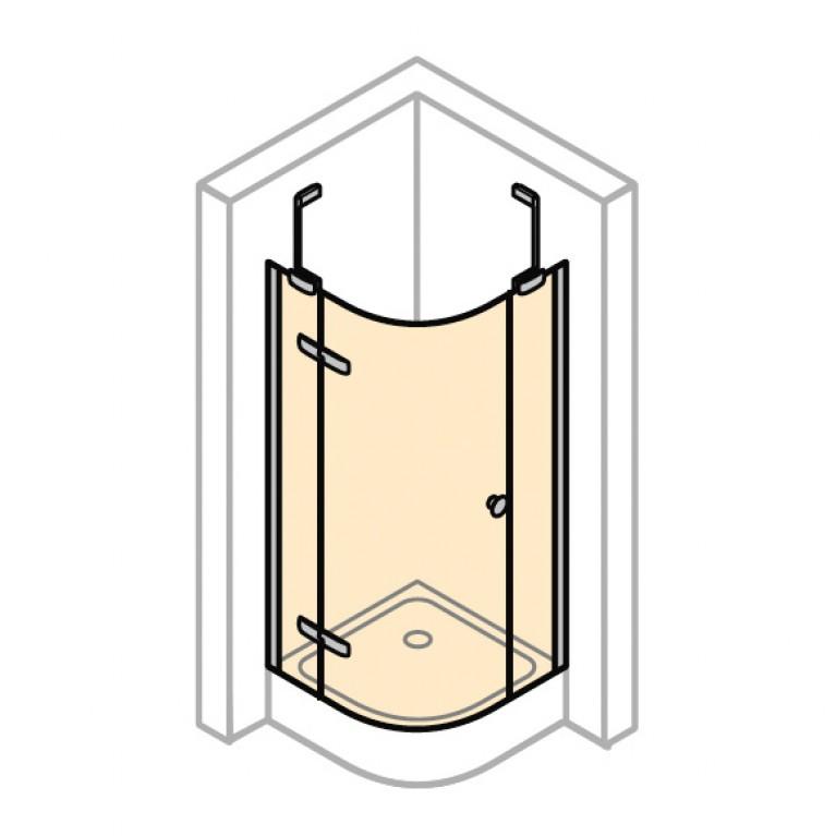 ENJOY ELEGANCE дверь распашная с неподвижным сегментами 90*120см  (профиль гл хром, стекло прозр Anti plaque), фото 1