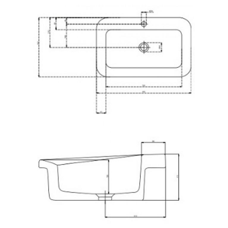 COCKTAIL умывальник прямоугольный 65 см, встраиваемый в столешницу, Reflex L31866900, фото 2