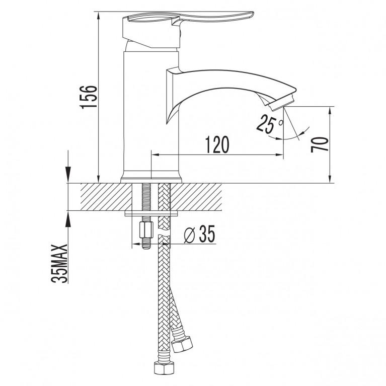 NOVA VLNA смеситель для умывальника, хром, 40мм 05135, фото 3