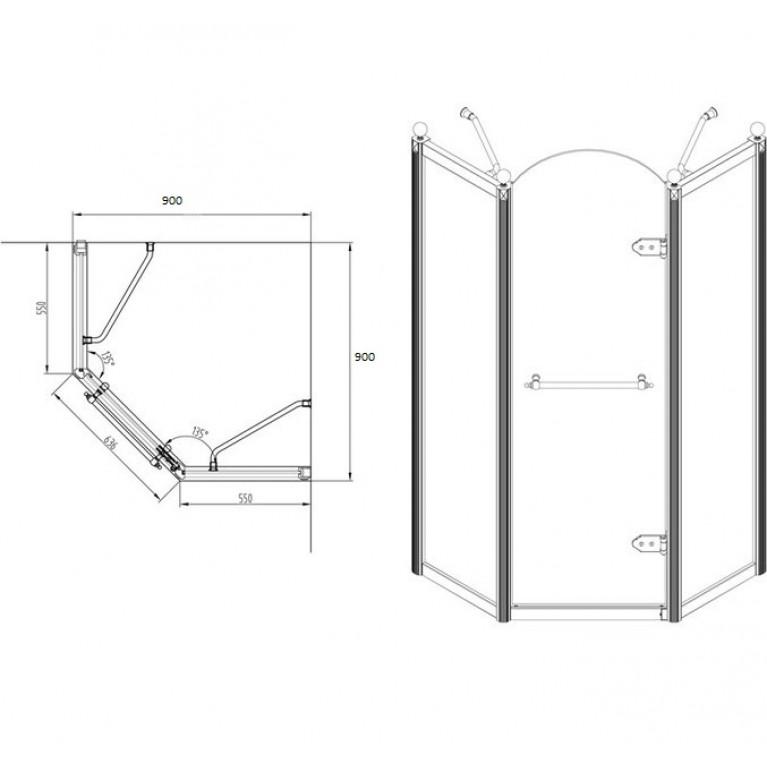 GRAND TENERIFE Bronze Кабина пятиугольная с распашной дверью, в бронзе, без поддона 900*900*2000мм 10-22-165 Bronze, фото 5
