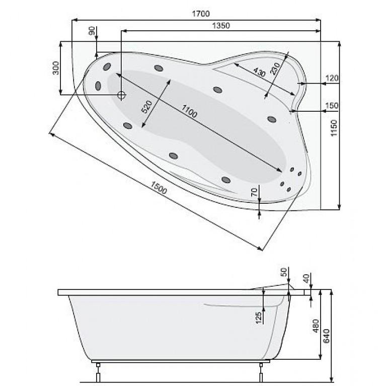 EUROPA ванна  170*115 правая + рама, фото 2