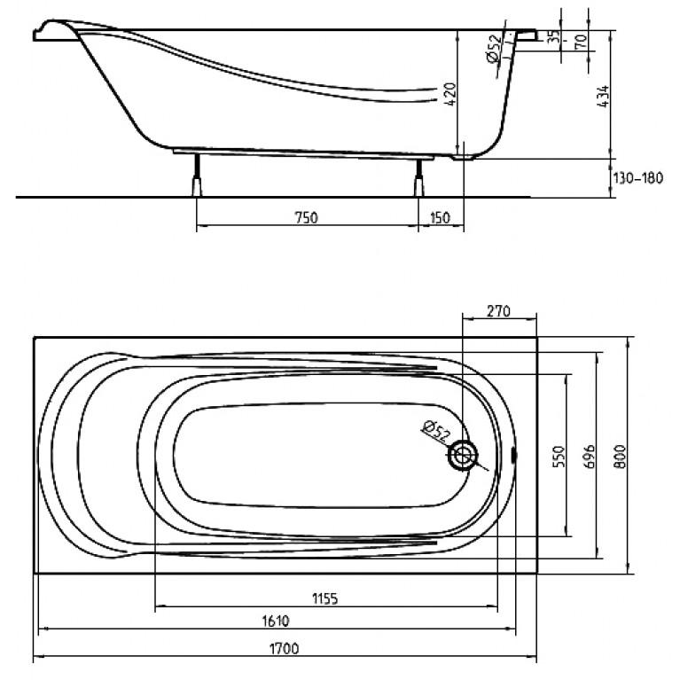 SAGA ванна прямоугольная 170*80 см с ножками SN0 и элементами крепления XWP3870000