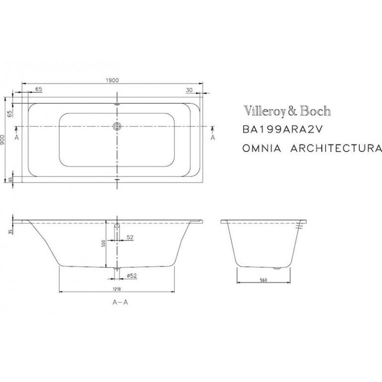ARCHITECTURA ванна 190*90см, белый альпин UBA199ARA2V-01, фото 2