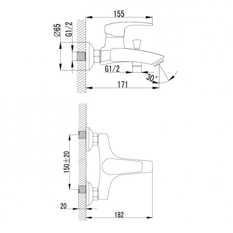 JESENIK смеситель для ванны, хром, 35 мм 10140