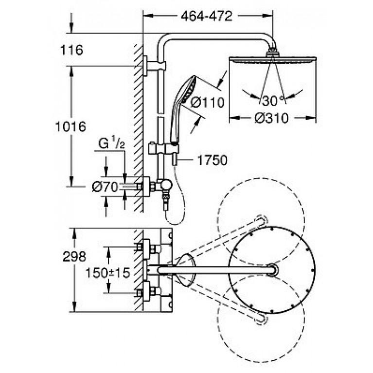 Euphoria System 210 система душевая с термостатом для настенного монтажа 26363000, фото 4