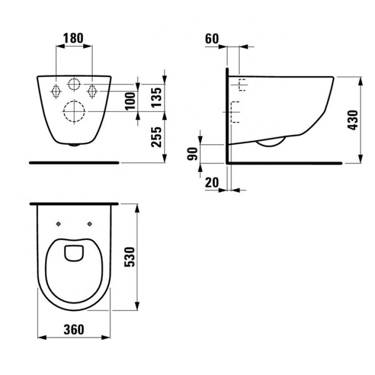 Комплект: PRO Rimless унитаз подвесной 820966+сидение slow-closing 8969513B, инсталляция  IMPRESE i8120 H820966+H8969513B+i8120