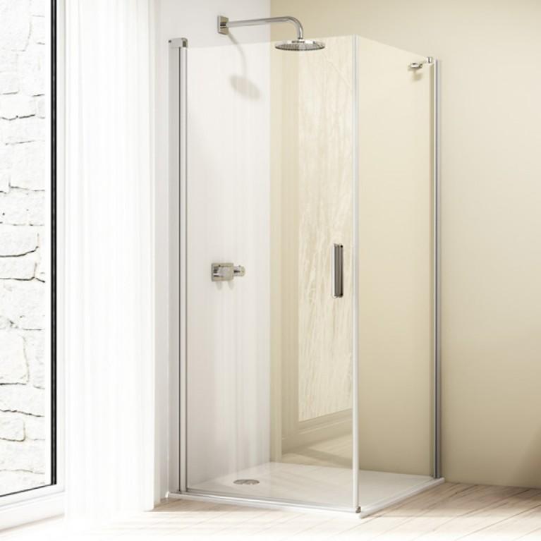 DESIGN ELEGANCE стенка боковая для распашной двери 90*190см (проф мат серебро,стекло прозр), фото 1