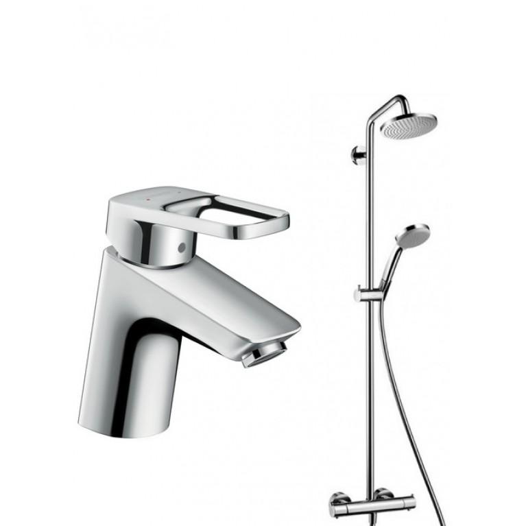Купить Croma 160 Showerpipe Душевая система с термостатом + Logis Loop 70 Смеситель для раковины, однорычажный со сливным гарнитуром, хром у официального дилера HANSGROHE в Украине