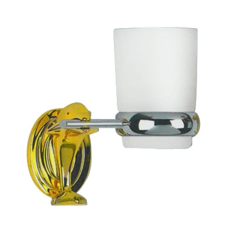 Дельфин золото стакан стекло с держателем (хром/золото)