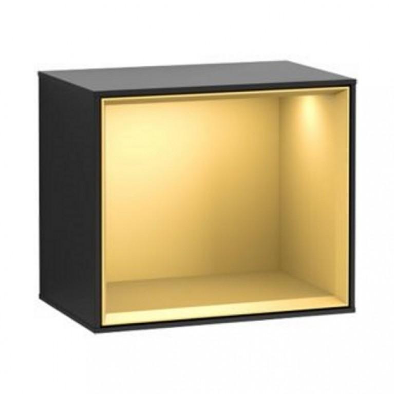 FINION полка 41,8*35,6*27см, подвесная, с подсветкой, золотой матовый, рама - черный матовый, фото 1