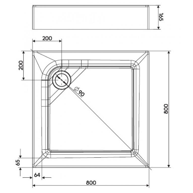 FIRST поддон квадратный 80 x 80 см, с интегрированной панелью XBK1680000, фото 2