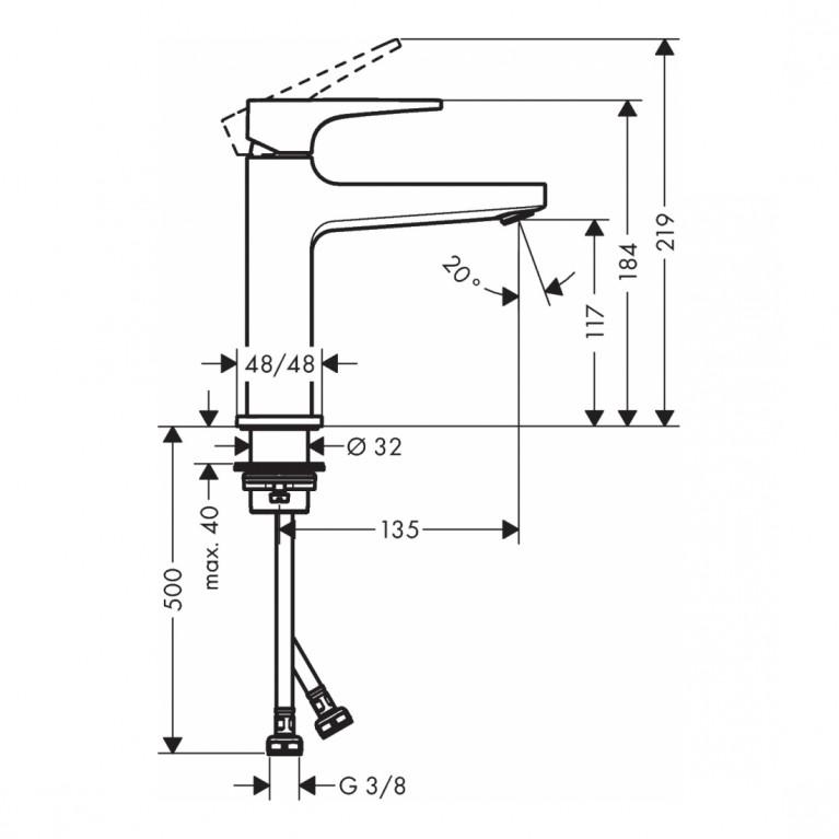 Metropol Смеситель для раковины 110, однорычажный, со сливным клапаном Push-Open, цвет матовый белый 32507700, фото 2